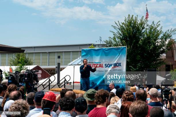 Democratic presidential hopeful Montana Governor Steve Bullock speaks at the Des Moines Register Political Soapbox at the Iowa State Fair on August 8...