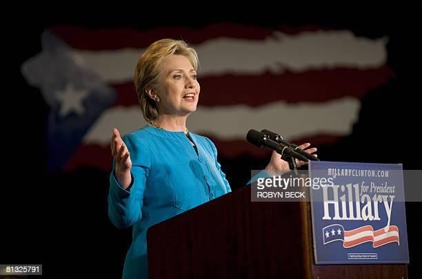 Democratic presidential hopeful New York Senator Hillary Clinton speaks at her rally on the night of the Puerto Rico Democratic presidential primary...