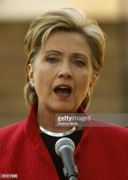 US Democratic presidential hopeful New York Senator Hillary Clinton speaks to the media after a campaign event outside McMurran Hall at Shepherd...