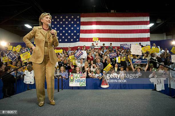 Democratic presidential hopeful New York Senator Hillary Rodham Clinton addresses a campaign event at the Kentucky Exposition Center in Louisville...