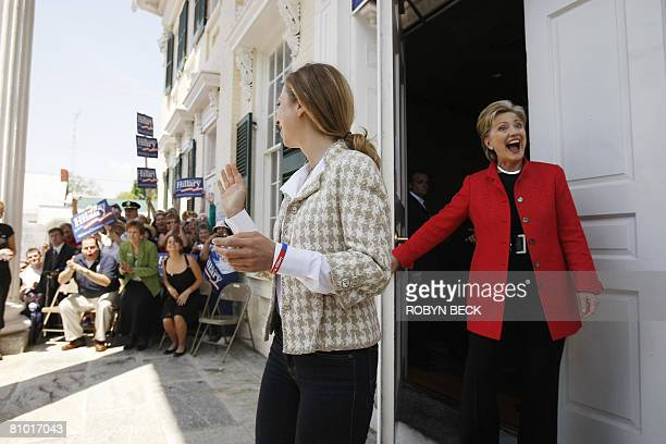Democratic presidential hopeful New York Senator Hillary Rodham Clinton and Chelsea Clinton arrive for a campaign event outside McMurran Hall at...