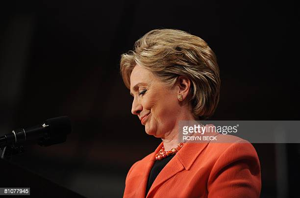 Democratic presidential hopeful New York Senator Hillary Rodham Clinton pauses as she addresses at her primary election night celebration at the...