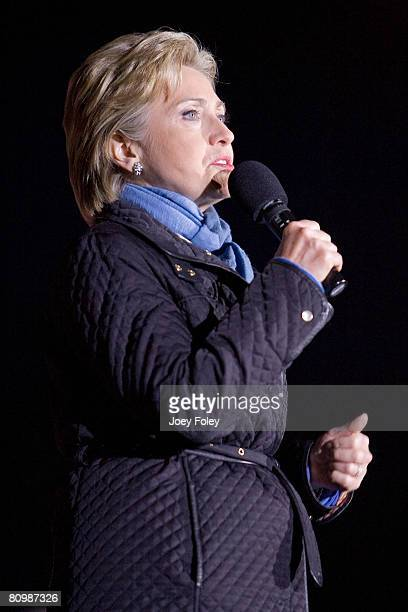 Democratic presidential hopeful New York Senator Hillary Rodham Clinton at a campaign stop at White River State Park on May 03, 2008 in Indianapolis,...