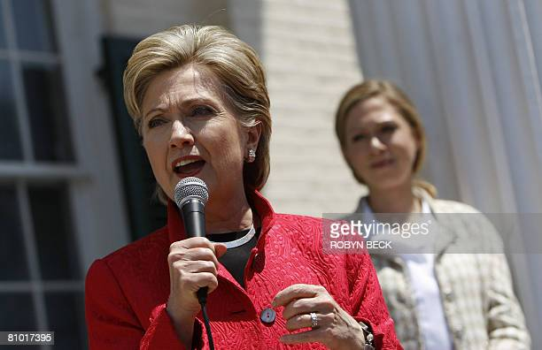 Democratic presidential hopeful New York Senator Hillary Rodham Clinton speaks at a campaign event outside McMurran Hall at Shepherd University in...