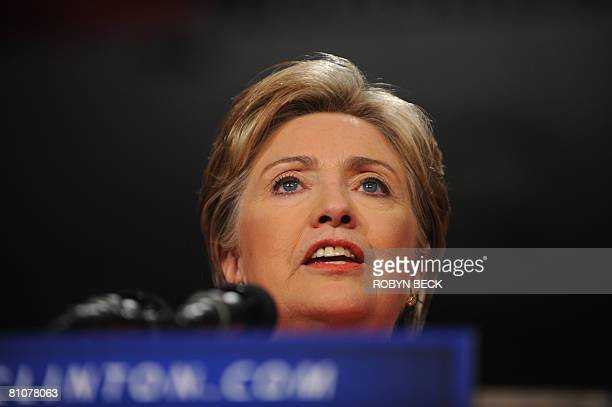 Democratic presidential hopeful New York Senator Hillary Rodham Clinton speaks at her primary election night celebration at the Charleston Civic...