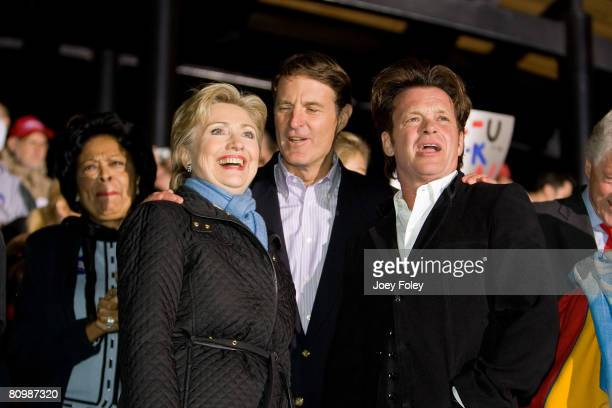 Democratic presidential hopeful New York Senator Hillary Rodham Clinton,Indiana Governor Evan Bayh,and singer John Mellencamp at a campaign stop at...