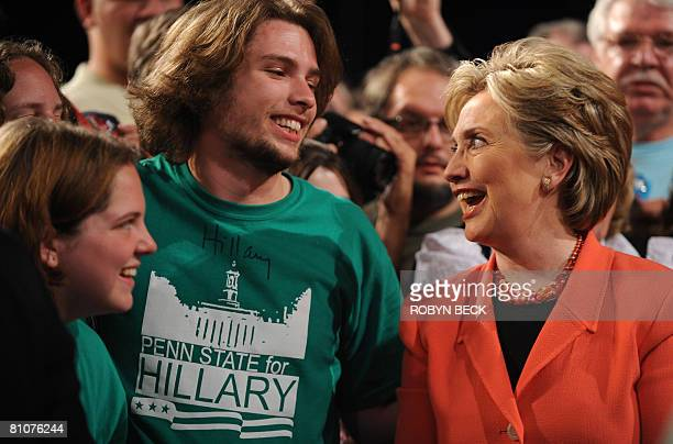 Democratic presidential hopeful New York Senator Hillary Rodham Clinton talks with supporters at her primary election night celebration at the...