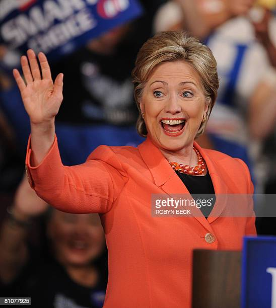 Democratic presidential hopeful New York Senator Hillary Rodham Clinton takes the stage at her primary election night celebration at the Charleston...