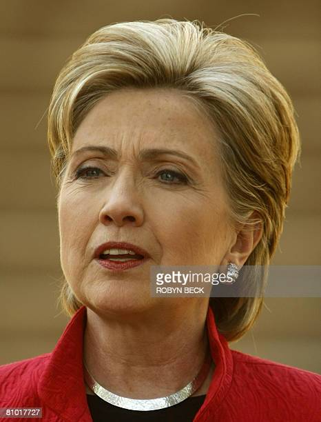 US Democratic presidential hopeful New York Senator Hillary Rodham Clinton speaks to the media after a campaign event outside McMurran Hall at...