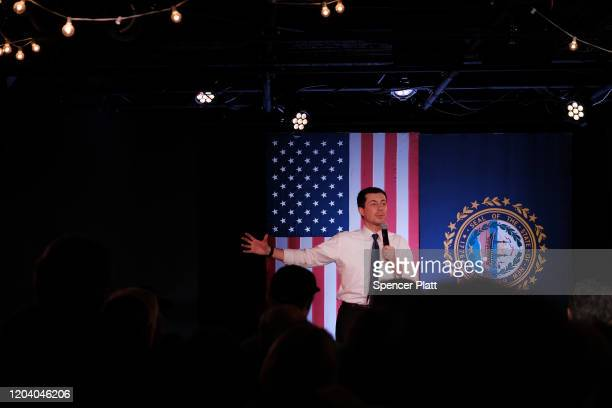 Democratic presidential hopeful Pete Buttigieg greets supporters in Portsmouth New Hampshire the morning after the flawed Iowa caucus on February 04...