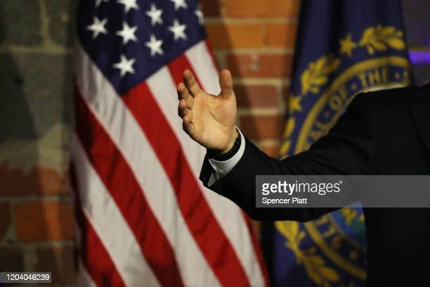 Democratic presidential hopeful Pete Buttigieg greets supporters in Manchester New Hampshire the morning after the flawed Iowa caucus on February 04...