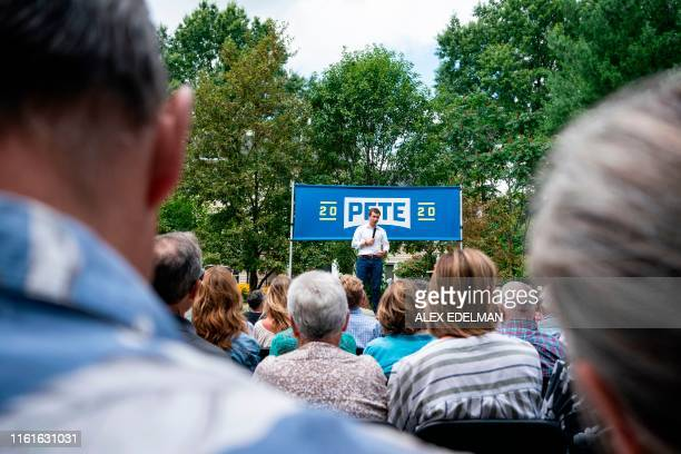 Democratic Presidential hopeful Pete Buttigieg speaks during a campaign event in Muscatine Iowa on August 14 2019 Buttigieg is campaigning in Iowa...