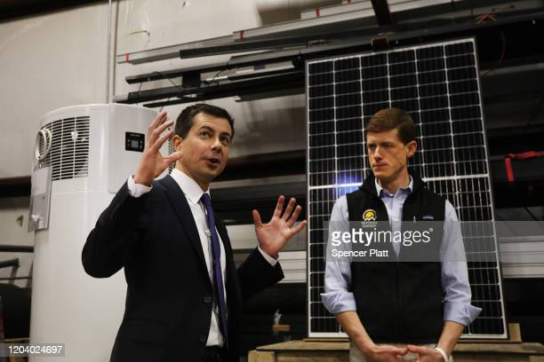 Democratic presidential hopeful Pete Buttigieg tours Revision Energy, which makes solar panels among other items, in Brentwood, New Hampshire the...