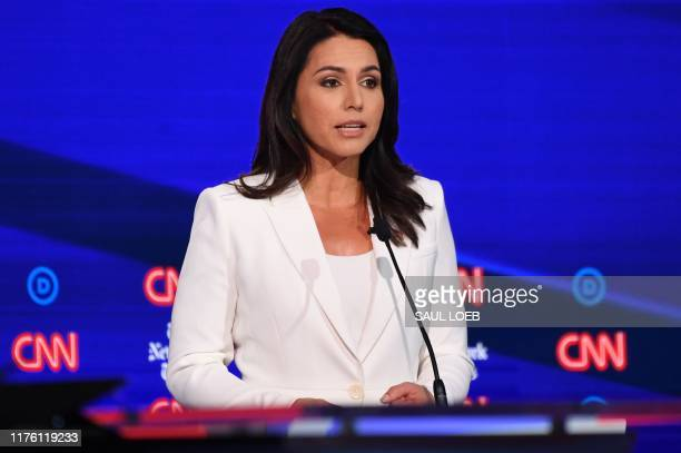 Democratic presidential hopeful Representative for Hawaii Tulsi Gabbard speaks during the fourth Democratic primary debate of the 2020 presidential...
