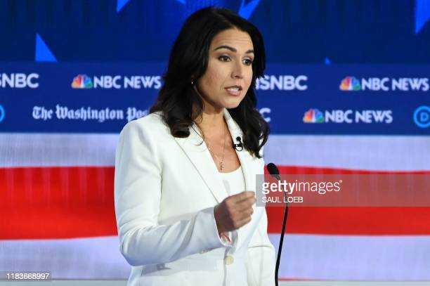 Democratic presidential hopeful Representative for Hawaii Tulsi Gabbard speaks during the fifth Democratic primary debate of the 2020 presidential...