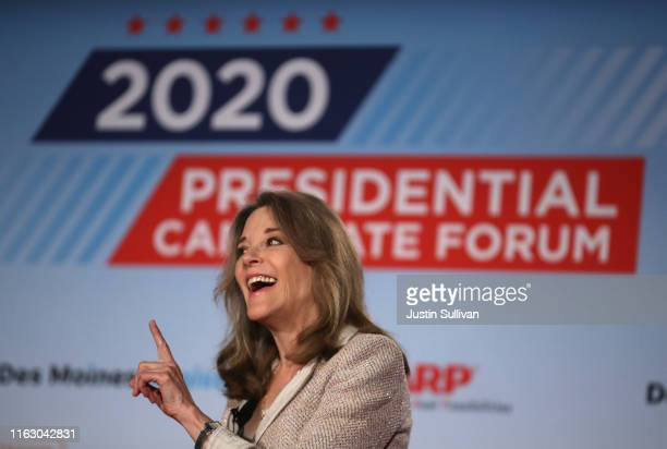 Democratic presidential hopeful self-help author Marianne Williamson speaks during the AARP and The Des Moines Register Iowa Presidential Candidate...