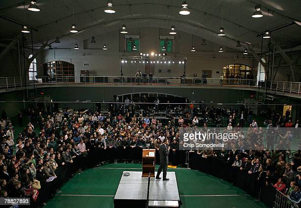 Democratic presidential hopeful Sen Barack Obama addresses a rally at the athletics facility at Dartmouth College January 8 2008 in Hanover New...