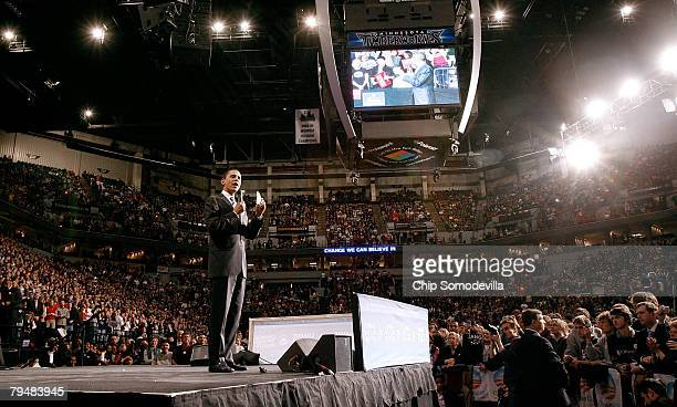 Democratic presidential hopeful Sen. Barack Obama addresses the audience at a rally at the Target Center February 2, 2008 in Minneapolis, Minnesota....