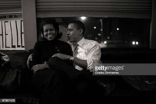 EXCLUSIVE Democratic presidential hopeful Sen Barack Obama DIll and wife Michelle Obama take sometime out on their bus Wednesday January 2 2008 in...