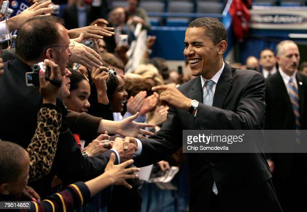 Democratic presidential hopeful Sen Barack Obama greets supporters during a rally at the XL Center during the last full day of campaigning before...
