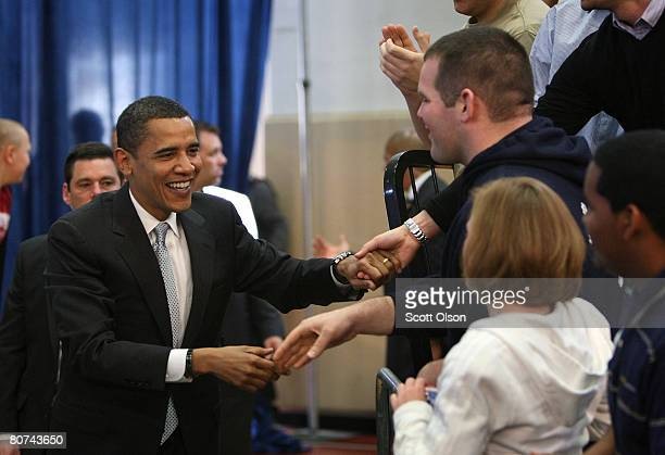 Democratic presidential hopeful Sen. Barack Obama greets supporters gathered for a town hall style meeting at Pennsylvania State University Erie...