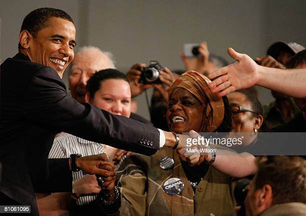 Democratic presidential hopeful Sen. Barack Obama greets supporters before speaking at a campaign rally at the Charleston Civic Center May 12, 2008...