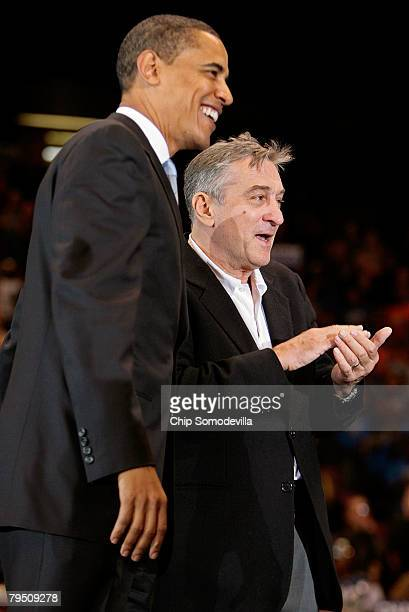 Democratic presidential hopeful Sen Barack Obama is joined on stage by movie actor and director Robert De Niro during a rally at the IZOD Center at...