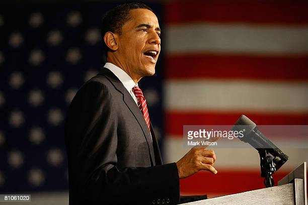 Democratic presidential hopeful Sen. Barack Obama speaks during a campaign rally at the Charleston Civic Center May 12, 2008 in Charleston, West...