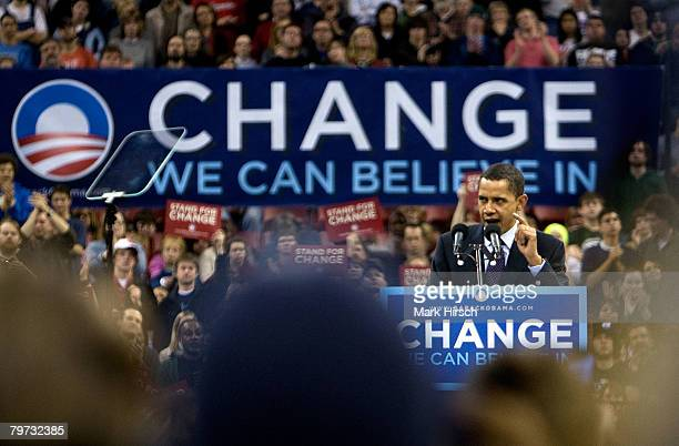 Democratic presidential hopeful Sen Barack Obama speaks during a primary campaign rally at the Kohl Center February 12 2008 in Madison Wisconsin...