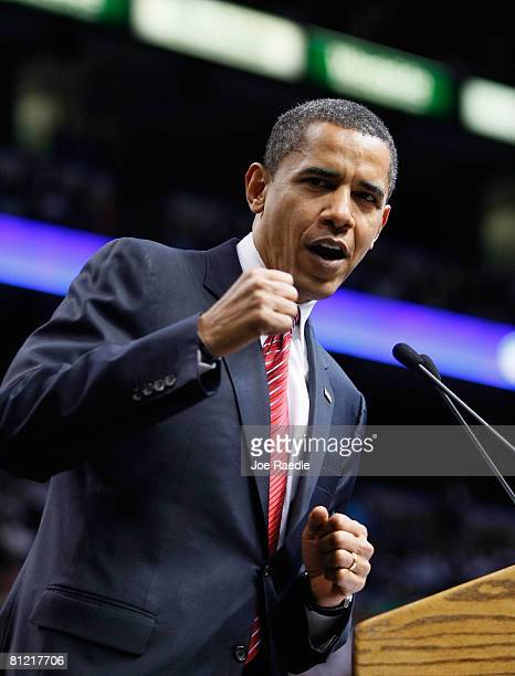 Democratic presidential hopeful Sen Barack Obama speaks during a Broward County campaign rally at the Bank Atlantic Center May 23 2008 in Sunrise...