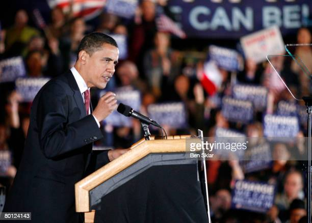 Democratic presidential hopeful Sen Barack Obama speaks to supporters gathered for a postprimary rally March 4 2008 in San Antonio Texas Sen Hillary...