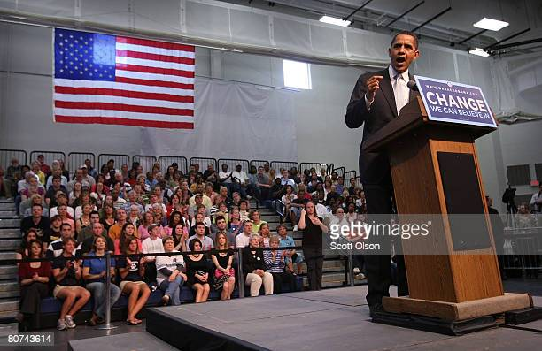 Democratic presidential hopeful Sen. Barack Obama speaks to supporters gathered for a town hall style meeting at Pennsylvania State University Erie...