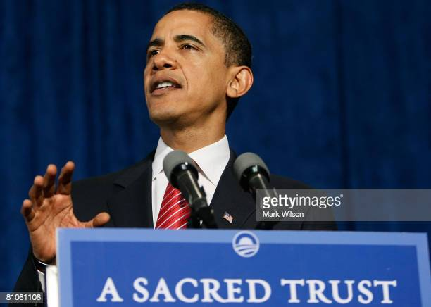 Democratic presidential hopeful Sen. Barack Obama speaks to supporters at a campaign rally at the Charleston Civic Center May 12, 2008 in Charleston,...
