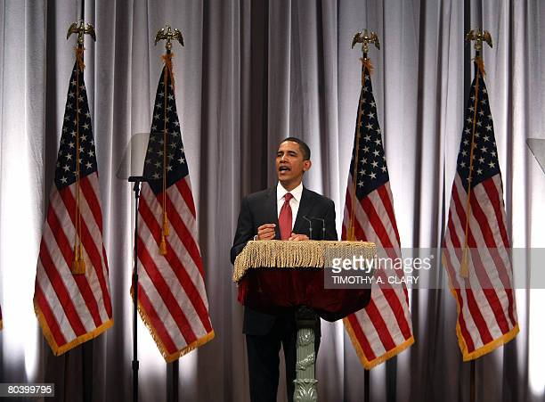 Democratic presidential hopeful Sen Barack ObamaDILspeaks in the Great Hall of New York's Cooper Union on March 27 2008 The Illinois senator touted...