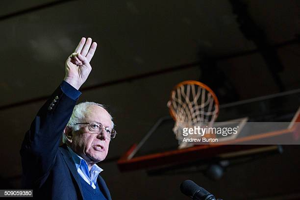 Democratic presidential hopeful Sen Bernie Sanders speaks at a campaign rally at Daniel Webster College on February 8 2016 in Nashua New Hampshire...