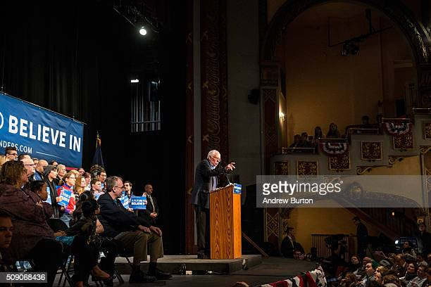 Democratic presidential hopeful Sen Bernie Sanders speaks at a campaign rally at Palace Theater on February 8 2016 in Manchester New Hampshire...