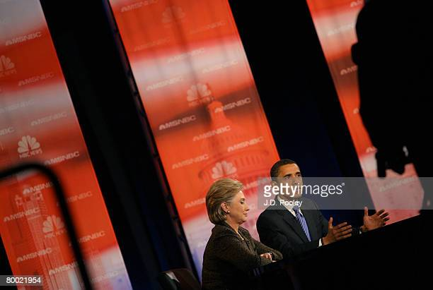 Democratic presidential hopeful Sen Hillary Clinton and Sen Barack Obama participate in a debate at Cleveland State University's Wolstein Center...
