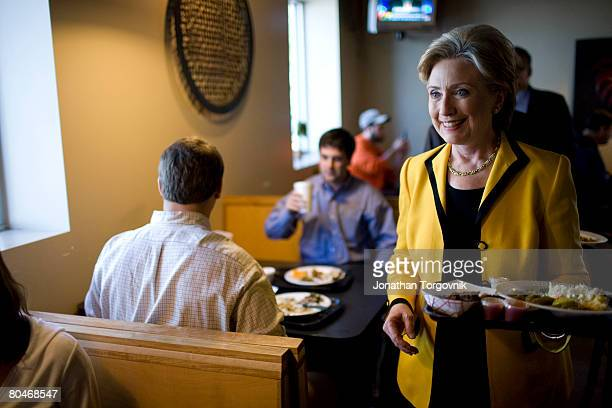 """Democratic presidential hopeful Sen. Hillary Clinton campaigning in South Carolina, and stops to eat at """"Doc's Barbeque"""" restaurant January 24, 2008..."""