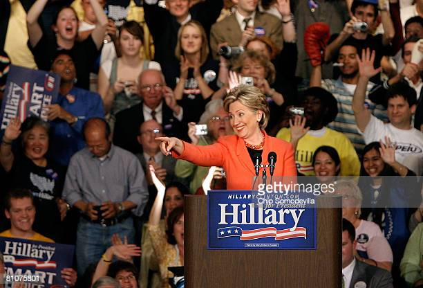 Democratic presidential hopeful Sen Hillary Clinton celebrates during a primary night rally at the Charleston Civic Center May 13 2008 in Charleston...