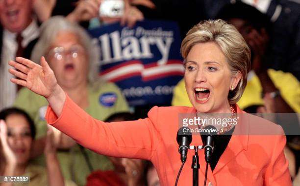 Democratic presidential hopeful Sen. Hillary Clinton celebrates during a primary night rally at the Charleston Civic Center May 13, 2008 in...