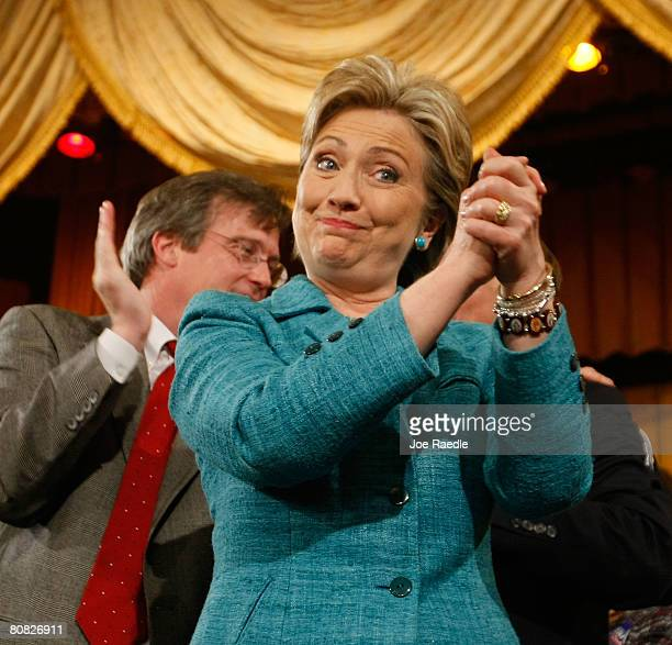 Democratic presidential hopeful Sen Hillary Clinton cheers during her primary night celebration party in the Park Hyatt Philadelphia at the Bellevue...