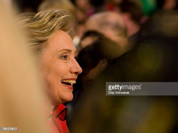 Democratic presidential hopeful Sen Hillary Clinton greets supporters at a town hall meeting following the Nevada caucus at McCluer North High School...