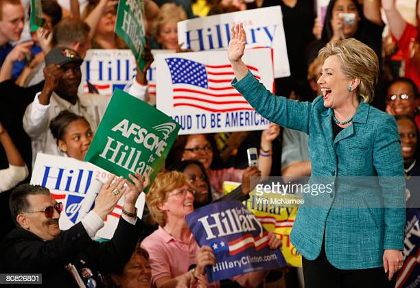 Democratic presidential hopeful Sen Hillary Clinton greets supporters during a primary night rally in the Park Hyatt Philadelphia at the Bellevue...