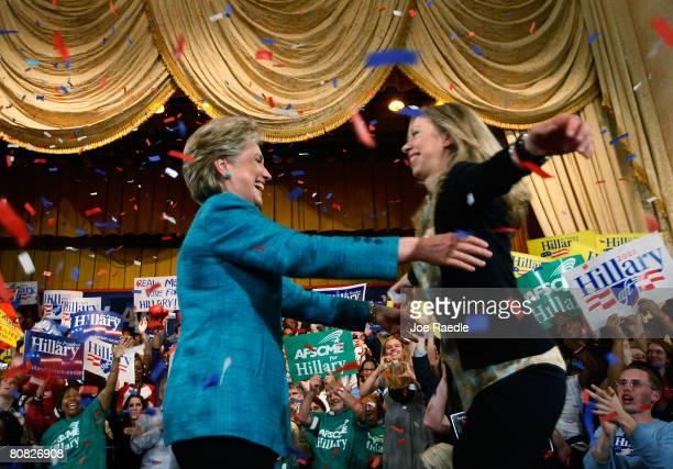 Democratic presidential hopeful Sen Hillary Clinton hugs her daughter Chelsea Clinton during a primary night rally in the Park Hyatt Philadelphia at...