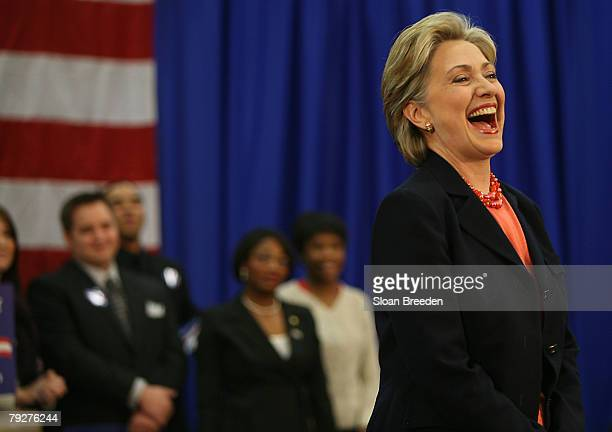 Democratic presidential hopeful Sen. Hillary Clinton laughs during a post primary town hall meeting on the campus of Tennessee State University on...
