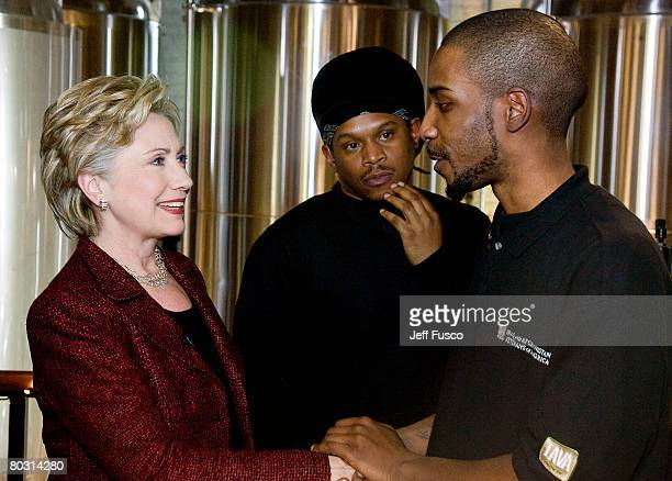 Democratic presidential hopeful Sen Hillary Clinton of New York and MTV news correspondent Sway Calloway speak with Iraq War veteran Herold Noel on...
