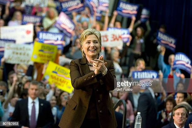 Democratic presidential hopeful Sen Hillary Clinton of New York greets the crowd at a 'Solutions for America' rally on March 10 2008 in Scranton...