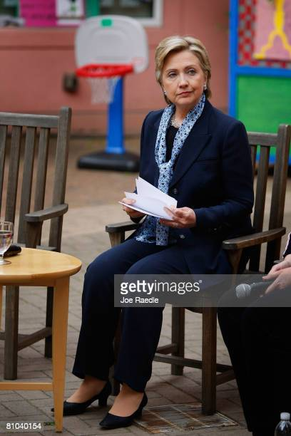Democratic presidential hopeful Sen. Hillary Clinton pauses as she sits during a round table discussion on health care at Doernbecher Children's...