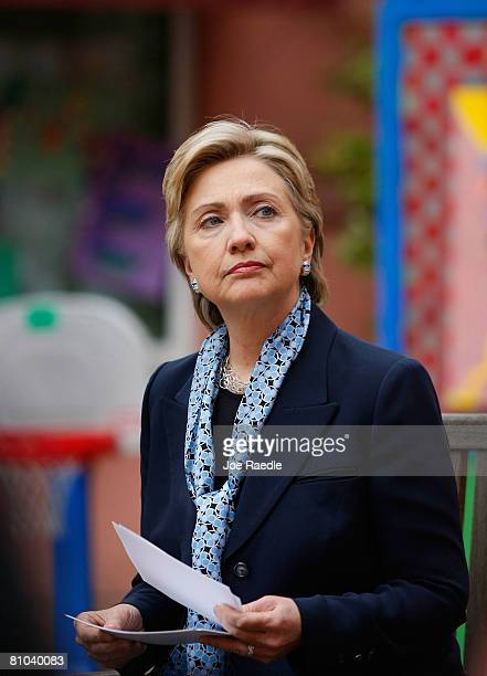 Democratic presidential hopeful Sen. Hillary Clinton pauses during a round table discussion on health care at Doernbecher Children's Hospital May 9,...