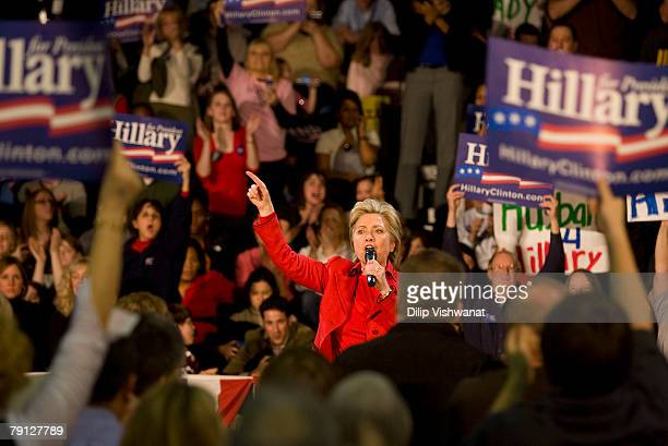 Democratic presidential hopeful Sen Hillary Clinton speaks at a town hall meeting following the Nevada caucus at McCluer North High School January 19...